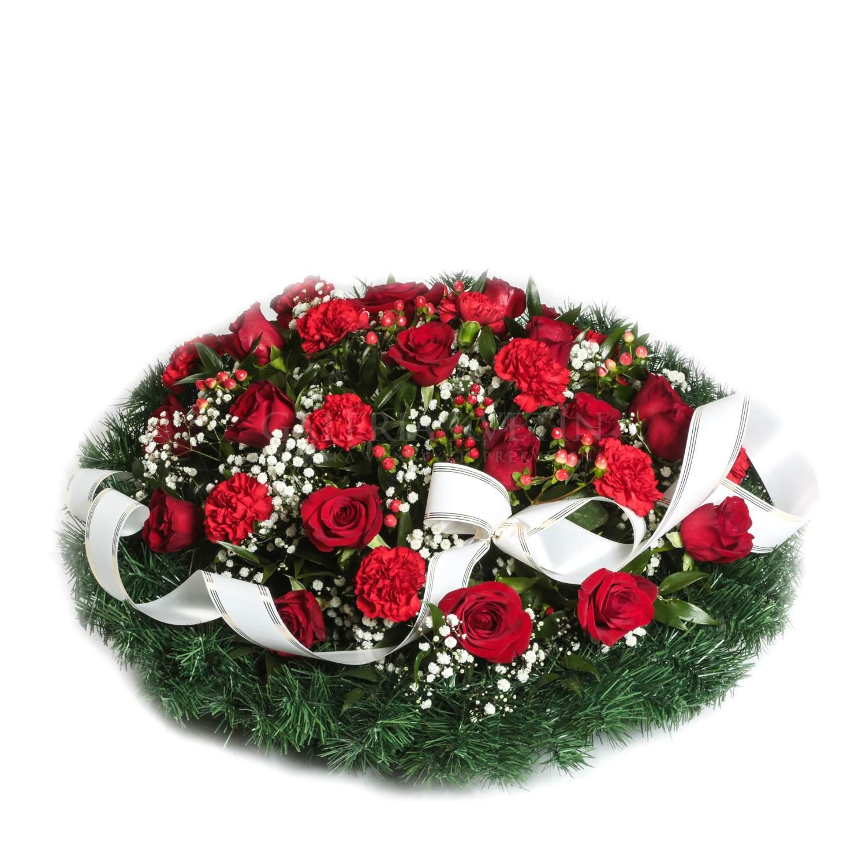 0b8ba9cdd Okrúhly smútočný veniec plný kvetov - Navždy v srdci   Galéria kvetín