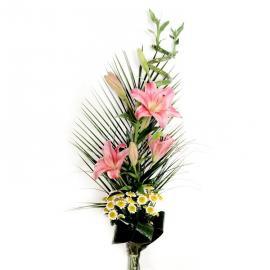 Kytica Ružová ľalia z ľalií a chryzantémy