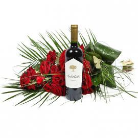 Darčekový set Exclusive zložený z kytice a vína