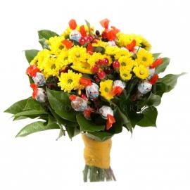 Sladká kytica z balenia Choco Bons a chryzantém