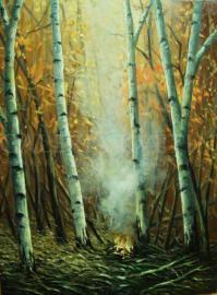 Jesenné zátišie s ohňom