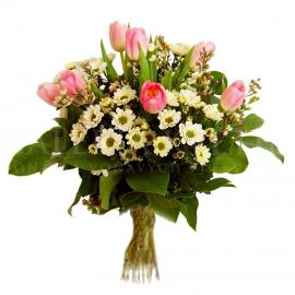 Kytica Prebudenie z tulipánov a chryzantém