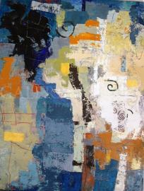 Kompozícia v modrom, akryl, 150x200 cm
