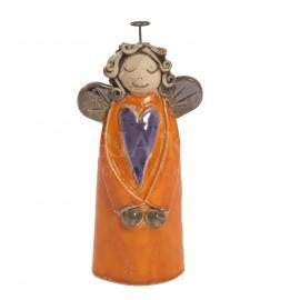 Keramický anjelik so srdiečkom oranžový