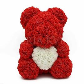 Rose Teddy Bear - red/white