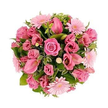 Zasnená kytica z ruží, gerbier a lisianthusu