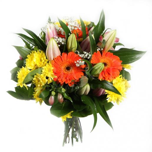 Kytica Svieža hravosť z ľalií, chryzantém, gerbier