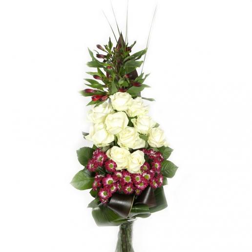 Kytica Biela rozlúčka z bielych ruží a chryzantém