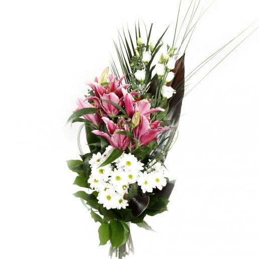 Kytica Smutná ľalia z ľalií, chryzantém, lisianthusu