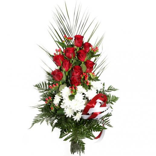 Kytica Úprimná rozlúčka z červených ruží a chryzantém