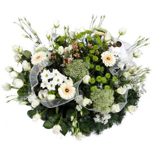 Okrúhly smútočný veniec plný kvetov - Exclusive