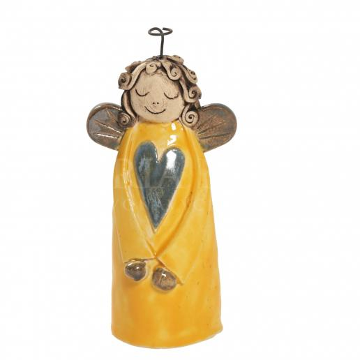 Keramický anjelik so srdiečkom žltý
