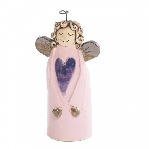 Keramický anjelik so srdiečkom ružový