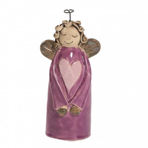 Keramický anjelik so srdiečkom fialový