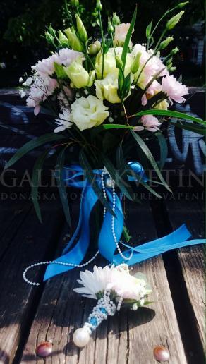 Svadobná kytica Perla v modrom