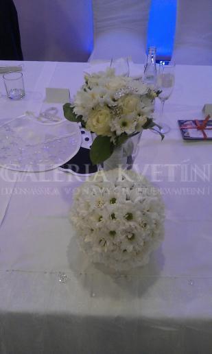 Guľa na hlavný stôl Symfónia v bielom