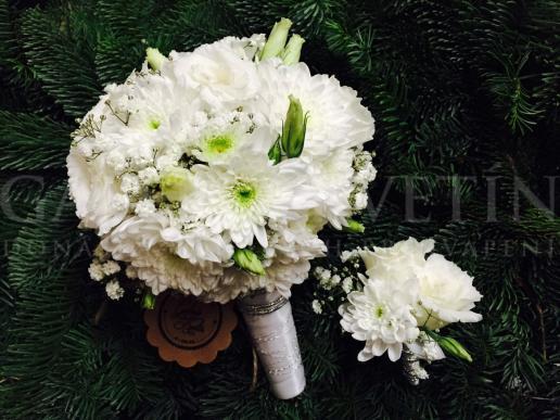 Svadobná kytica Biela snehová guľa
