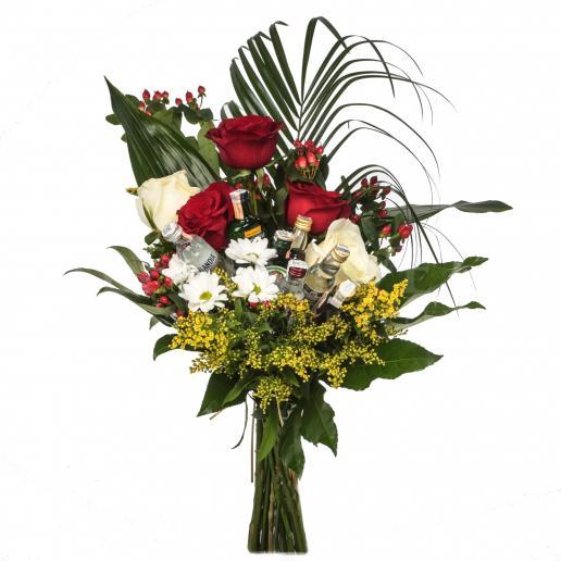 Exkluzívna kytica kvetov a mini fľaštičiek liehovín - TOP