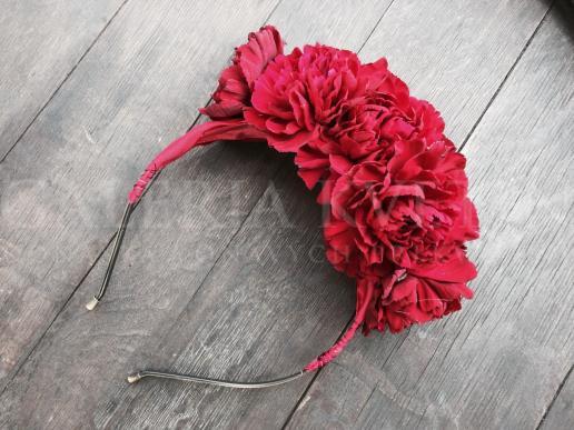 Červená baroková čelenka do vlasov