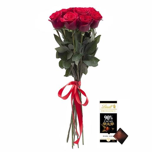 Kytica 7 ruží + Lindt