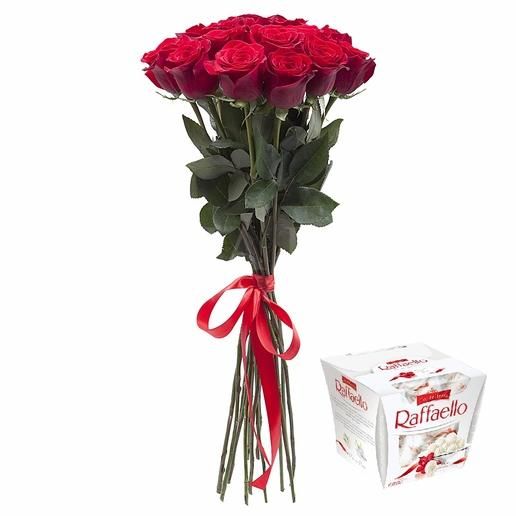 Kytica 9 ruží + raffaello