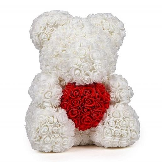 Rose Teddy Bear - white/red